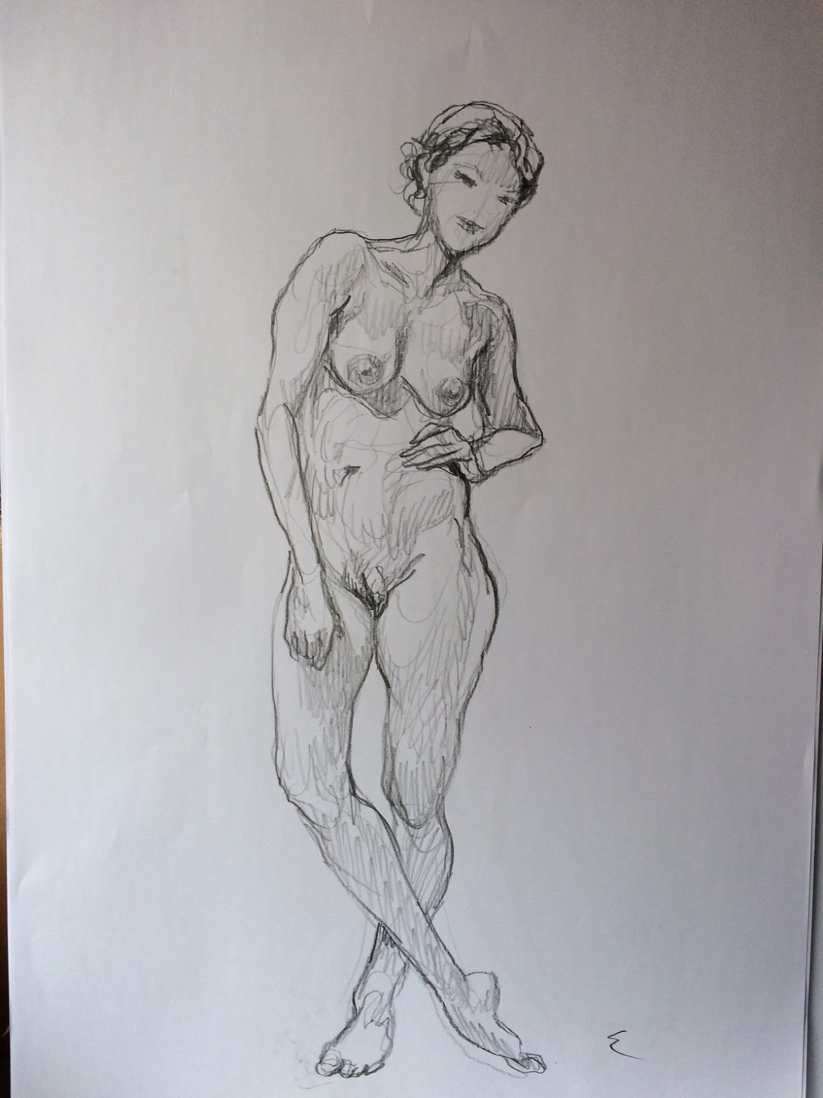 I feel that in drawing the nude model. Had I just drawn what was in front  of me. Trying to copy the models joints, the light the volume of her body.