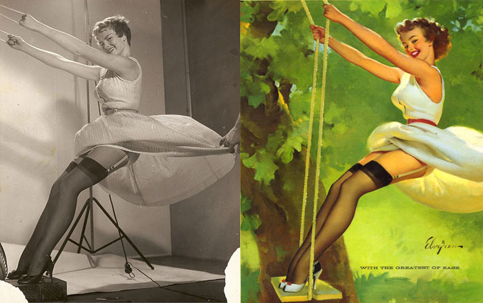 Fun collection of Elvgren pin-ups with their reference shots