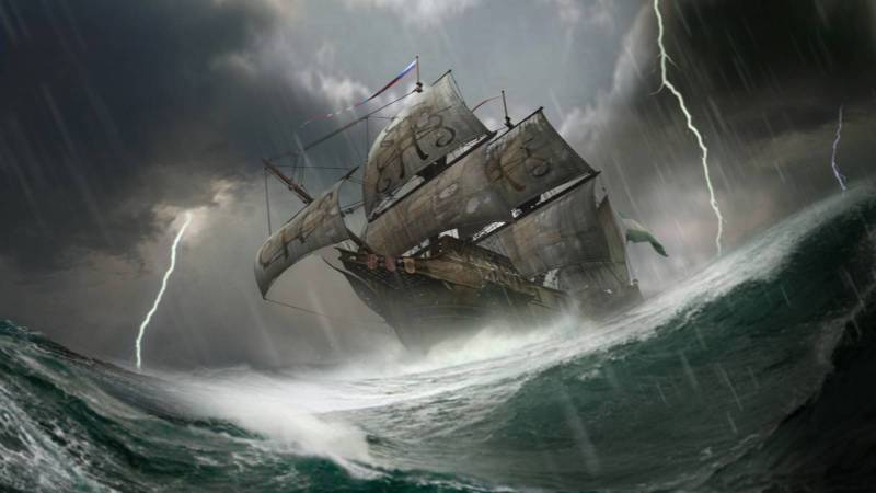 Painting of a ship at sea from Elder Scrolls: Legends