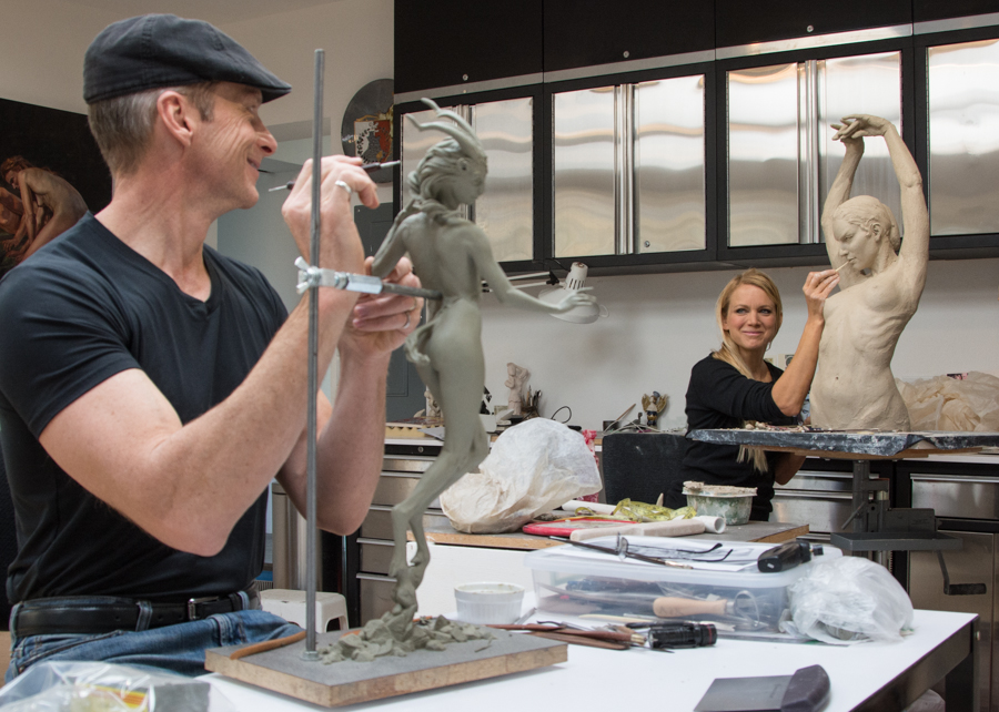 playing with clay in our studio