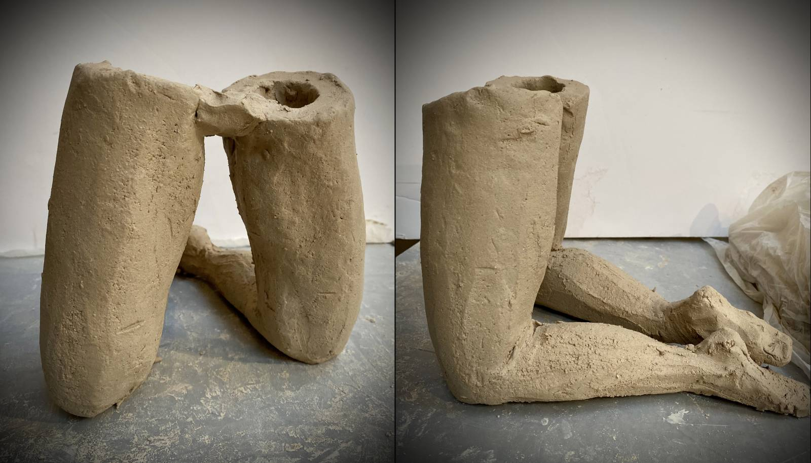 Clay legs roughed in