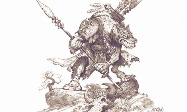 """Gnoll Spearthrower"" Drawing Demo"